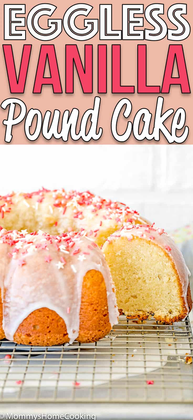 This Easy Eggless Vanilla Pound Cake recipe is easy to make, super moist, and very rich!  Made with simple ingredients, this fine-grained and tender cake will be a guaranteed showstopper whether you serve it. #recipe #eggless #eggfree #egglessbaking easy #poundcake #cake