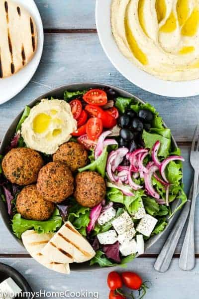 Falafel Salad Bowls with Mustard Hummus | Mommy's Home Cooking