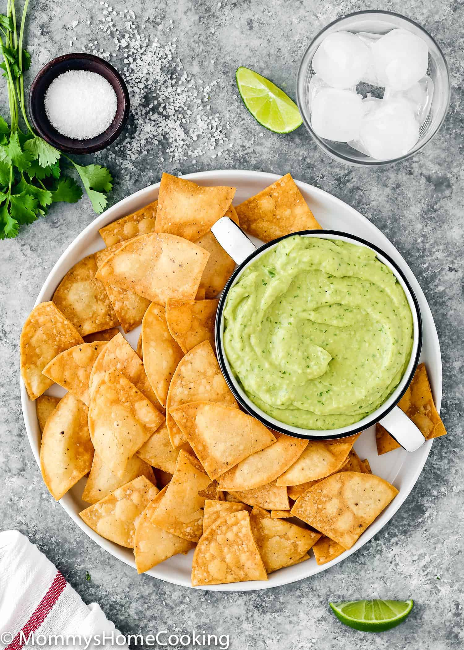 plate with tortilla chips and avocado sauce