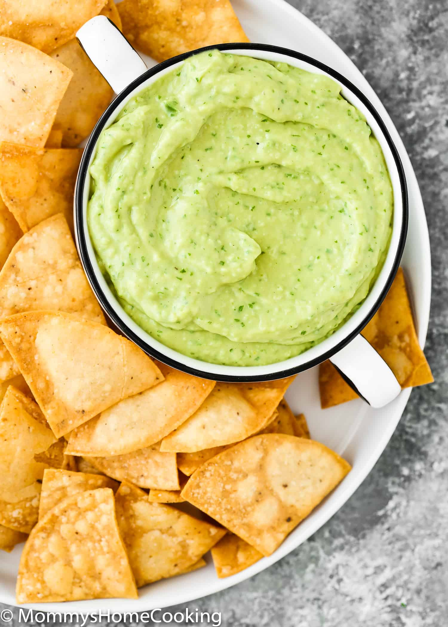 avocado sauce close-up in a plate with chips.