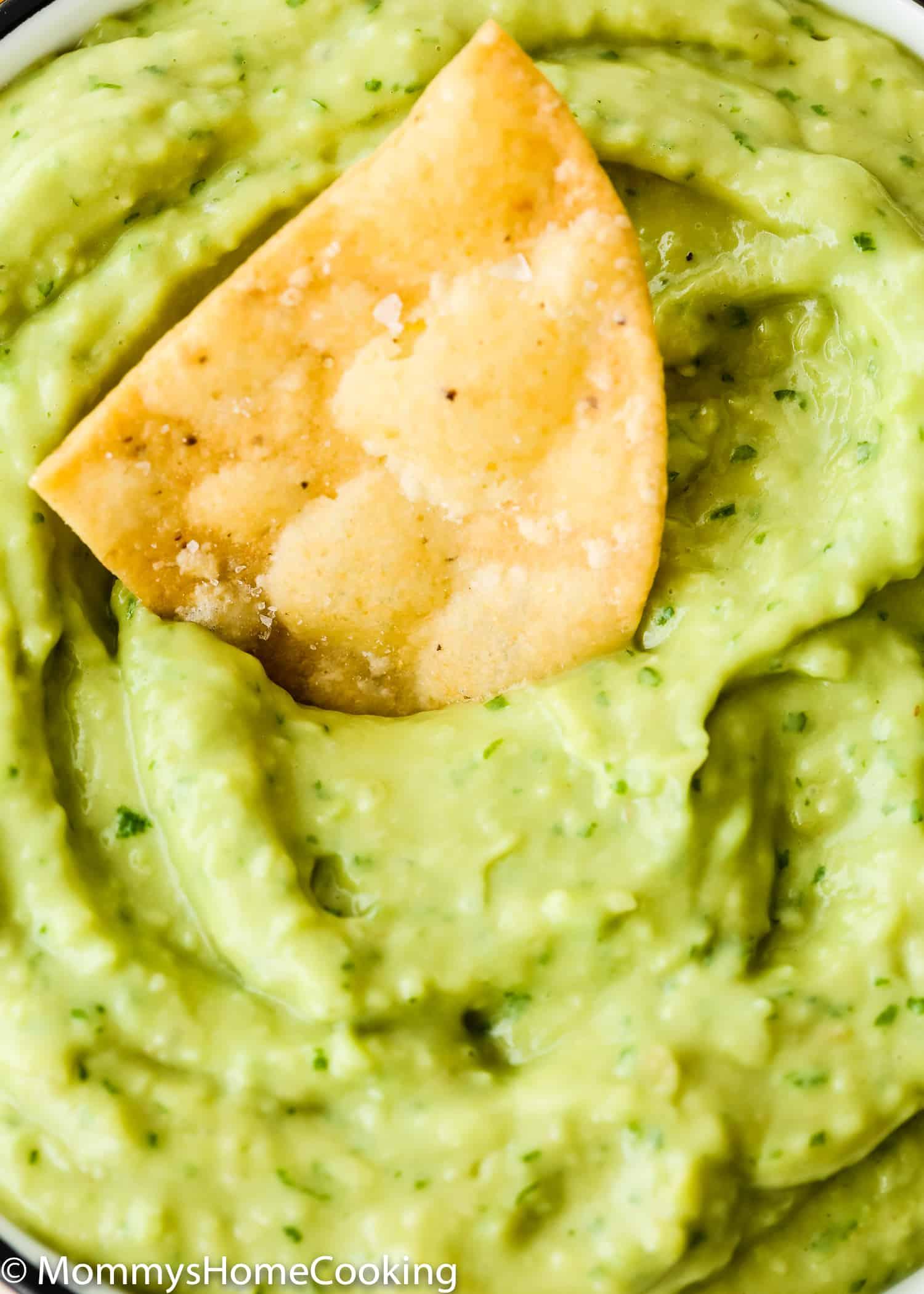 avocado sauce close-up with a tortilla chip