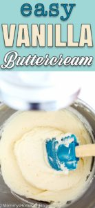 Vanilla Buttercream Frosting in a mixing bowl with a spatula