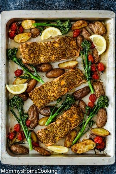 Sheet Pan Mustard Salmon Dinner | Mommy's Home Cooking