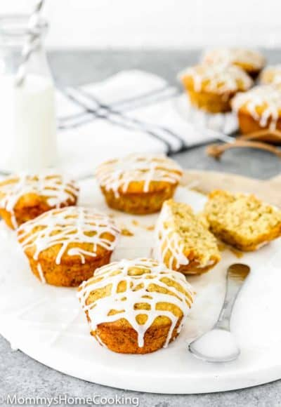 Eggless Banana Bread muffins drizzled with sugar glaze