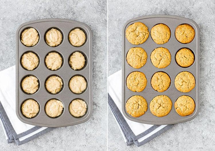 Eggless Banana Bread muffins batter in a muffin tin