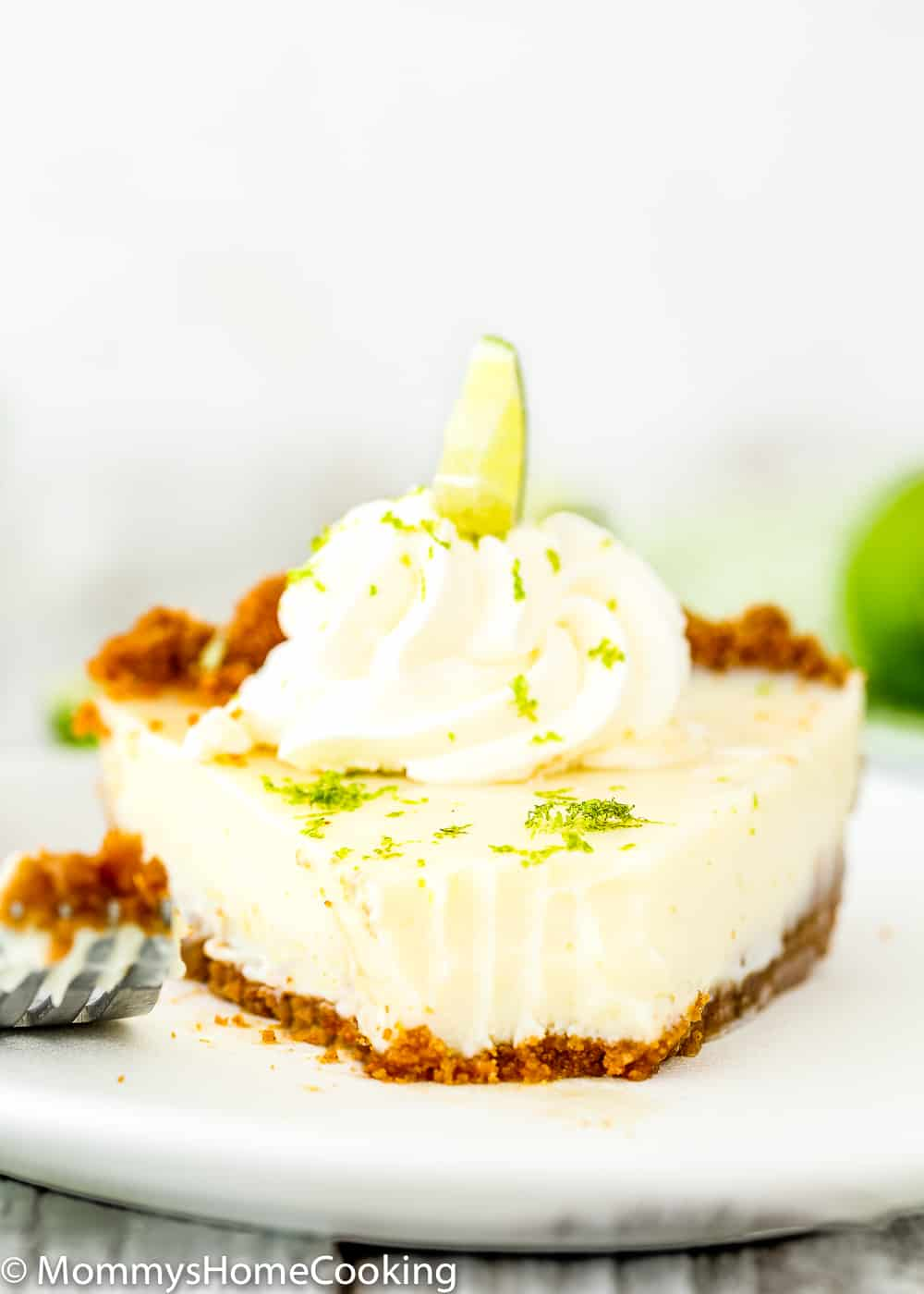 Eggless Key Lime Pie slice in  a plate