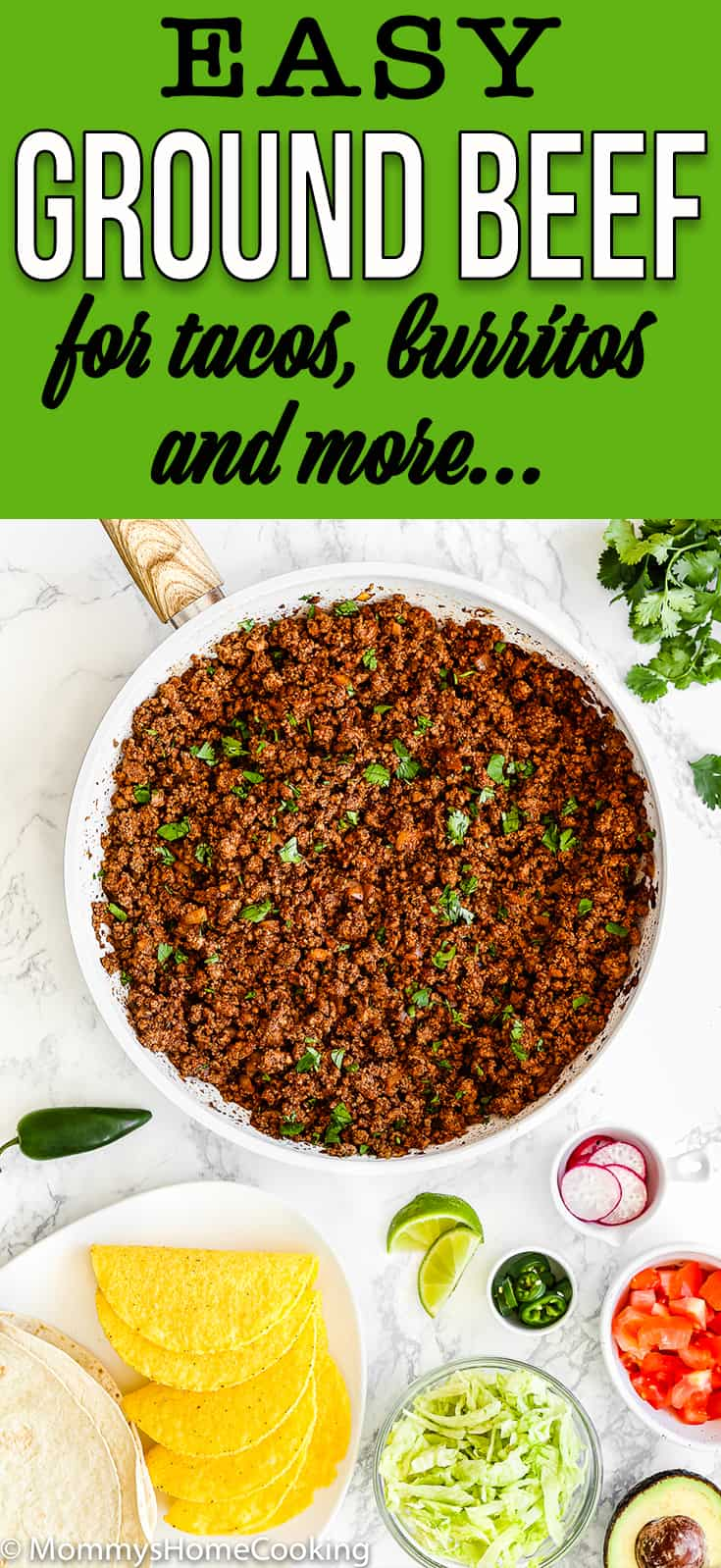 Cooked Ground Beef for Tacos in a skillet surrounded by taco toppings with text