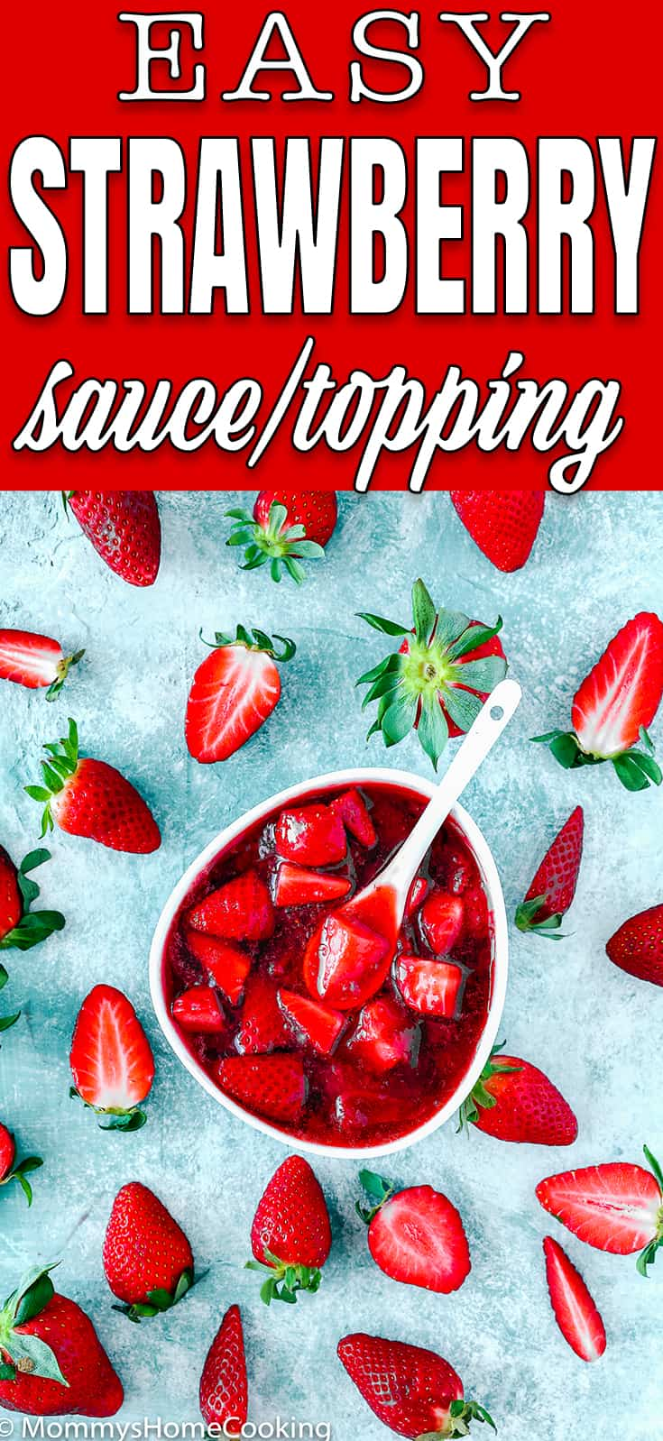 Strawberry sauce/topping in a white bowl and fresh strawberries