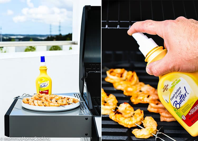grilling shrimp outside
