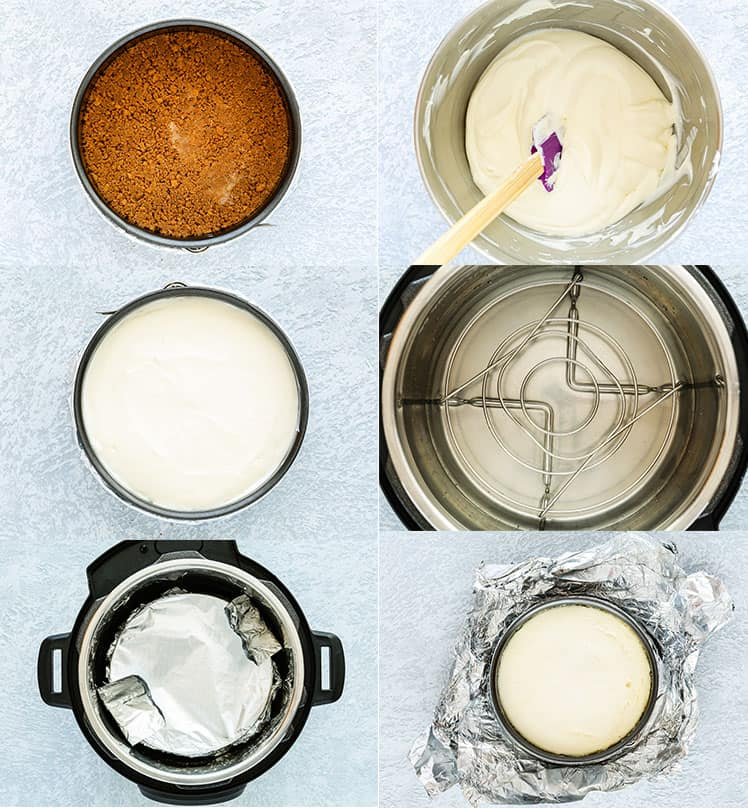 collage of 6 photos showing how to make a eggless cheesecake in an instant pot - pressure cooker
