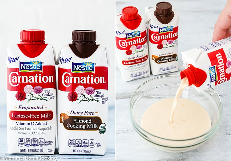 carnation evaporated milk lactose free and almond cooking milk collage