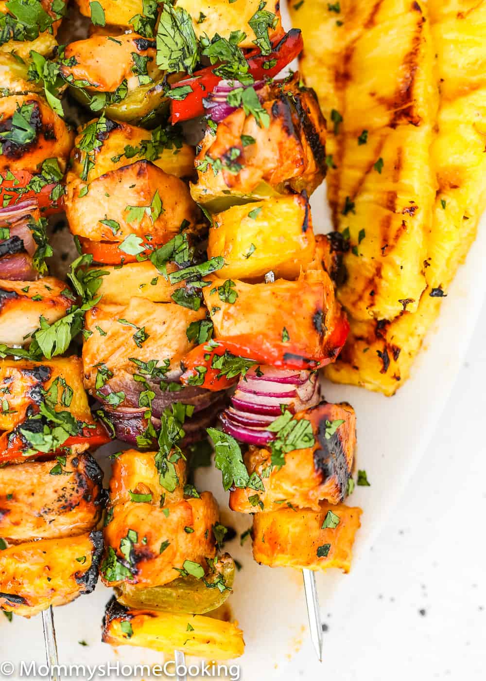 Easy Grilled Hawaiian Chicken Skewers close up