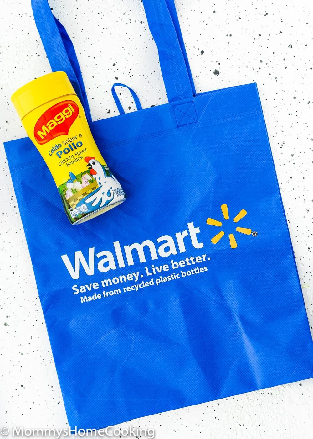 maggi granulated chicken Bouillon with a Walmart bag