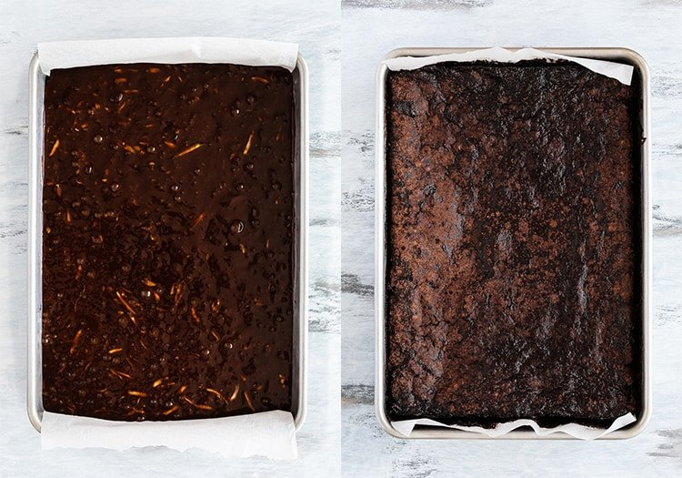 eggless fudgy zucchini brownies batter before and after bake