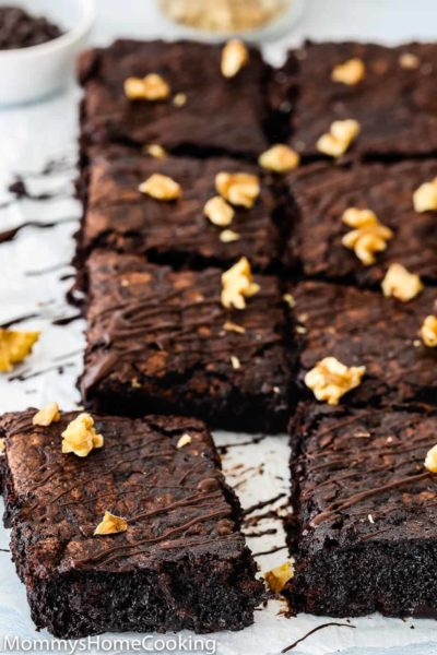 eggless fudgy zucchini brownies drizzled with chocolate