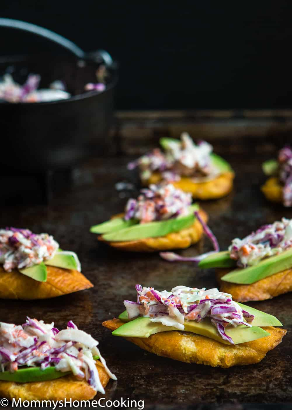 Tostones with sliced avocado and coleslaw salad
