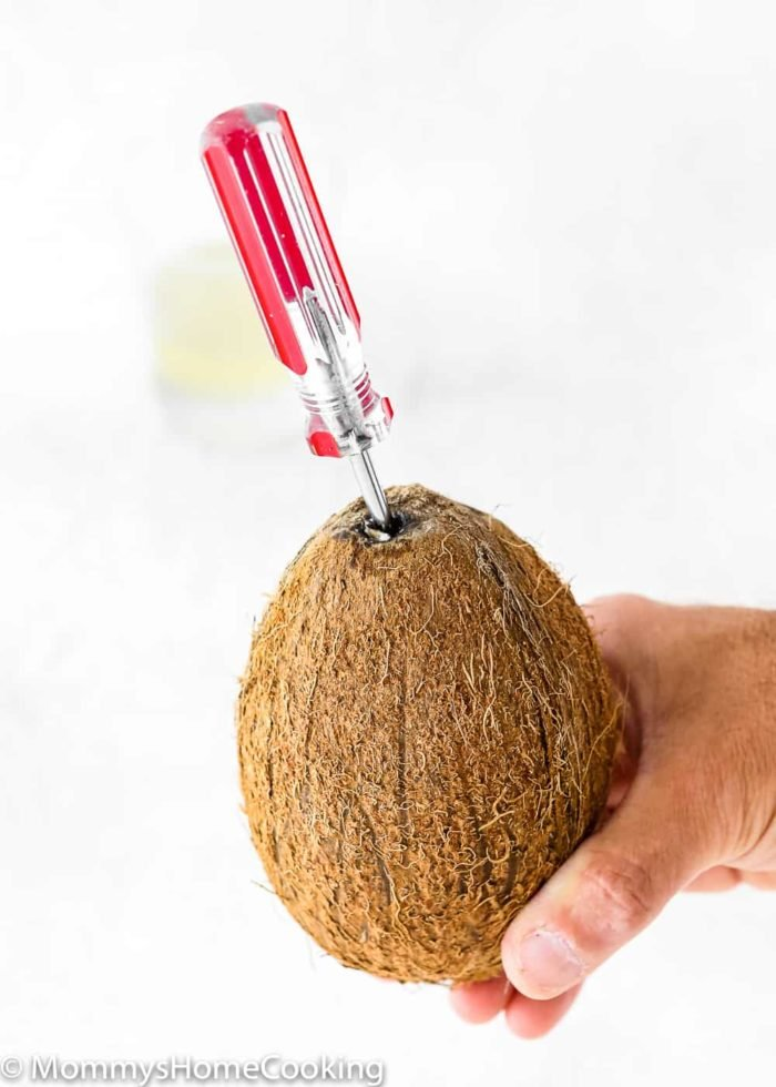 How to crack open a coconut step 1