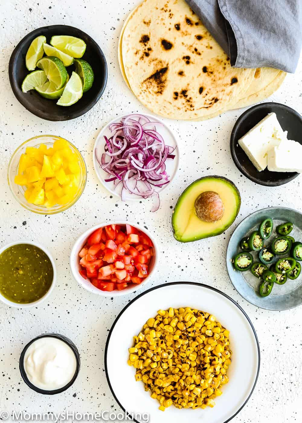 Ingredients needed to make a taco bar.