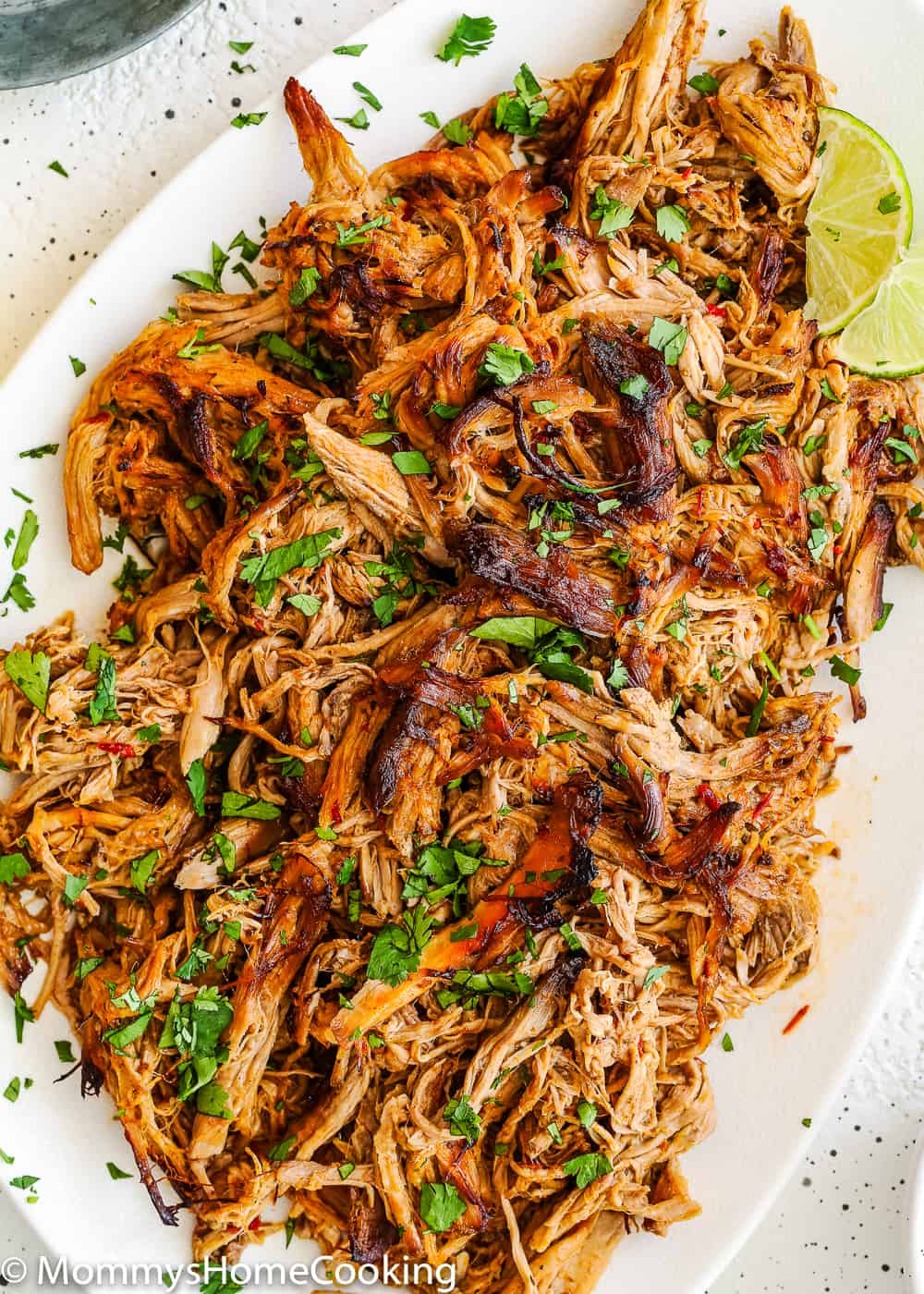 Slow cooker crispy chipotle carnitas in a plate.