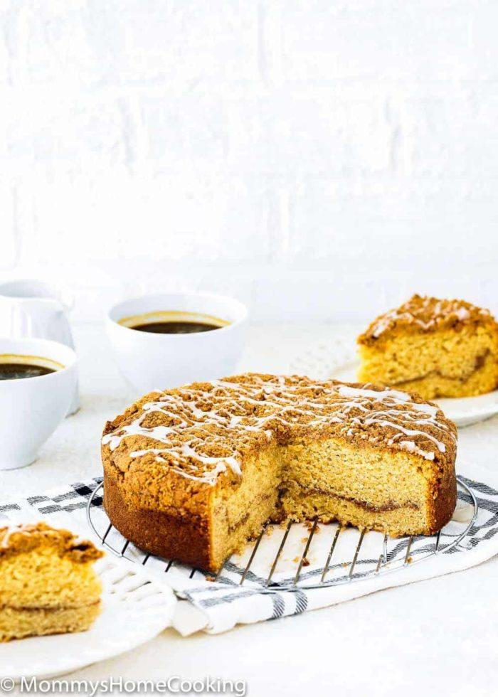 Easy moist eggless coffee cake with two cups of coffee