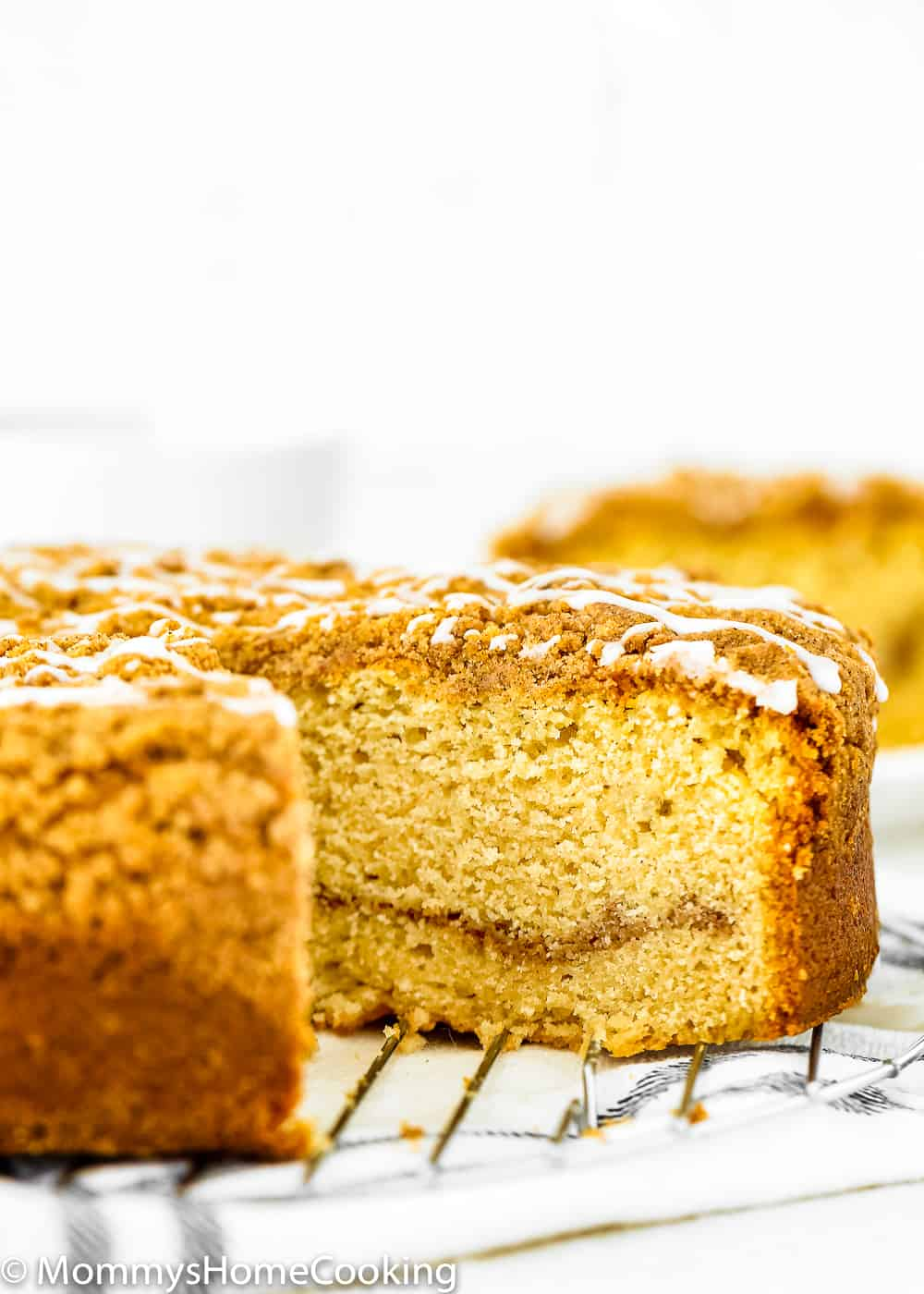 Easy moist eggless coffee cake sliced