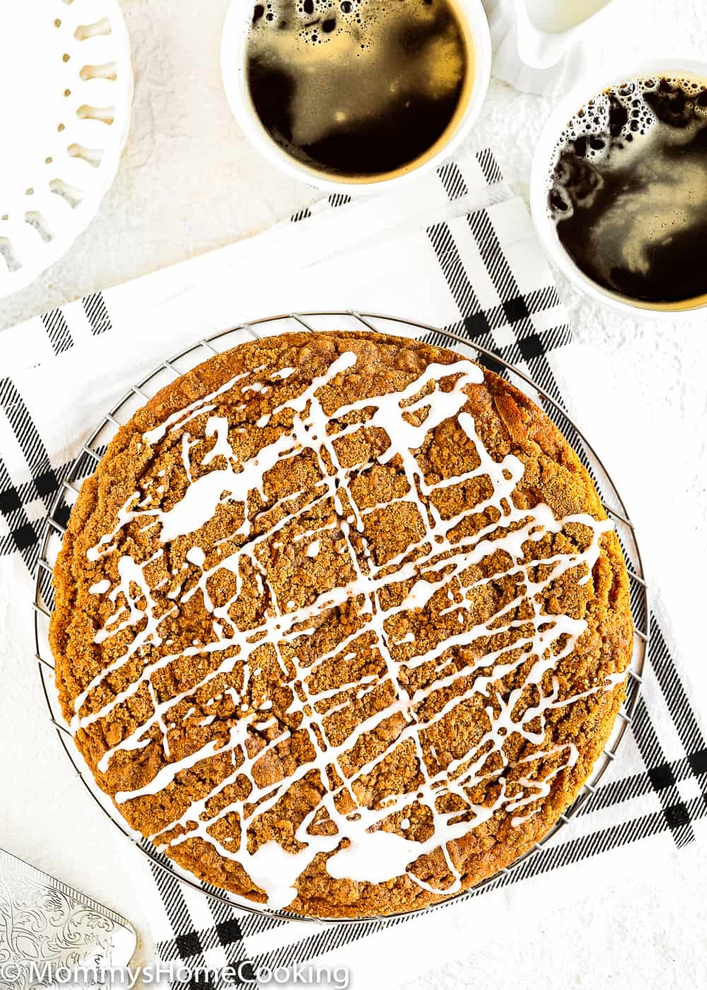 easy to make eggless coffee cake drizzle with sugar glaze