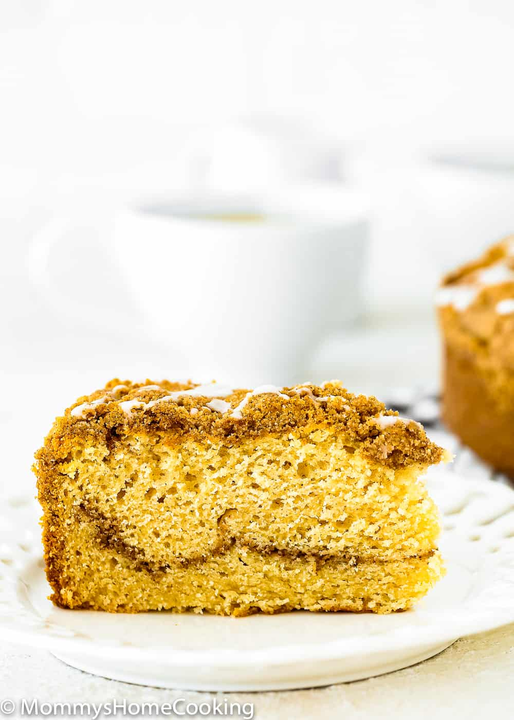 Eggless coffee cake slice