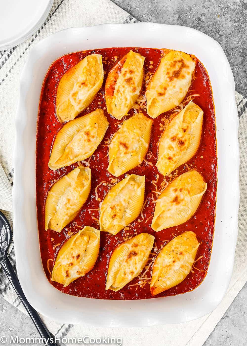 eggless baked pasta shells