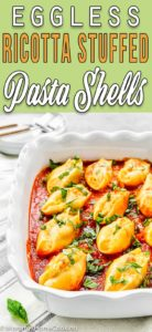 eggless pumpkin ricotta pasta shells with descriptive text