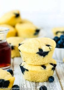 Eggless Blueberry Pancake Muffins over a wooden table