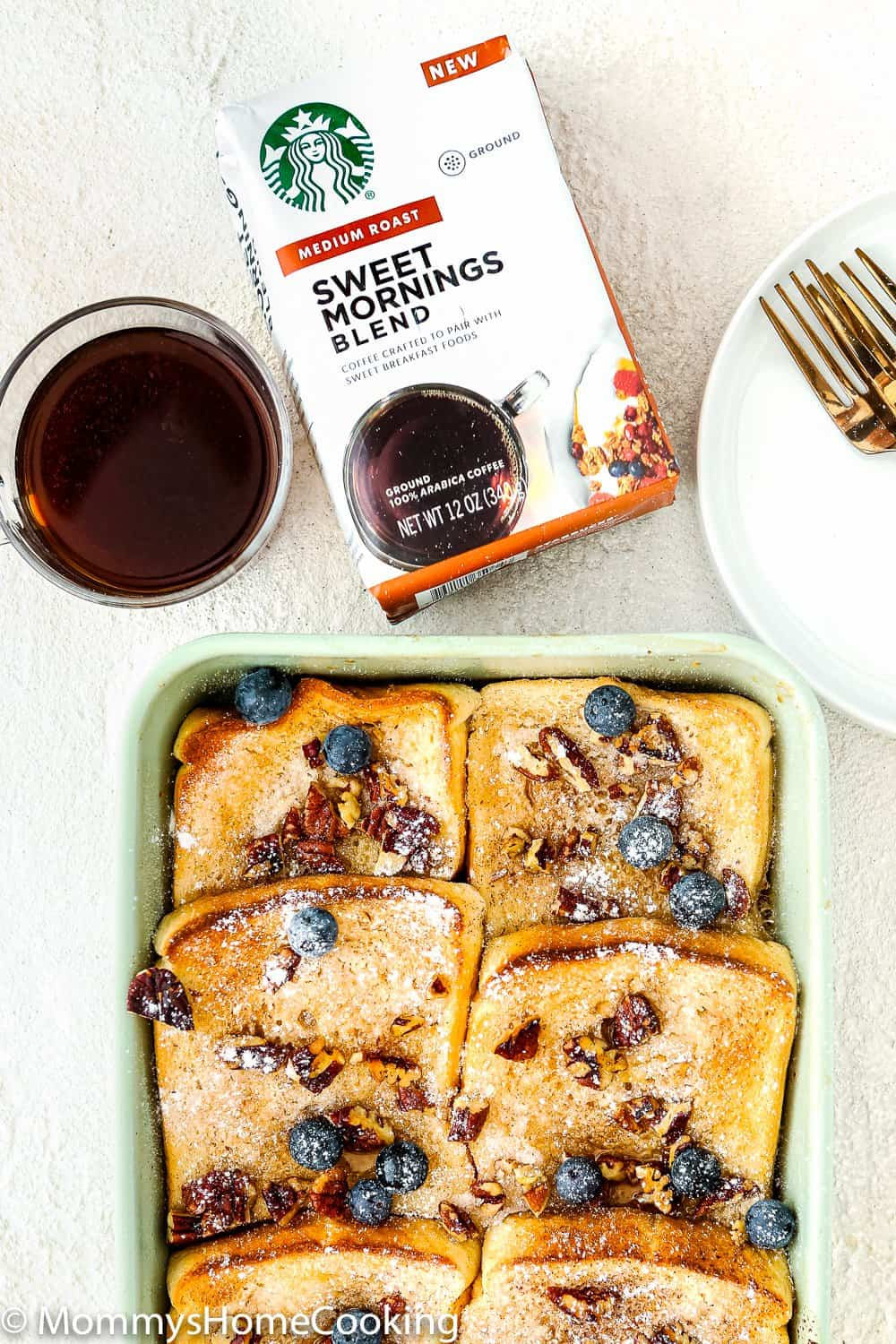 ggless French Toast Casserole with sweet morning coffee