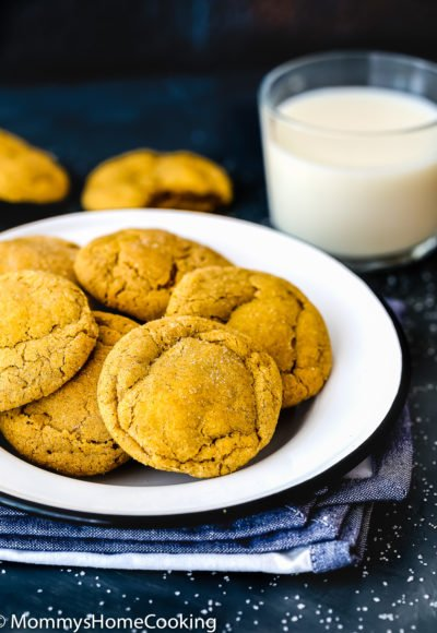 Eggless Pumpkin Snickerdoodles cookies in a plate with a glass of milk