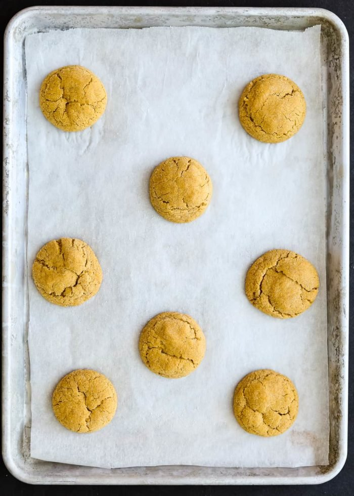 baked Eggless Pumpkin Snickerdoodles in a cookie sheet