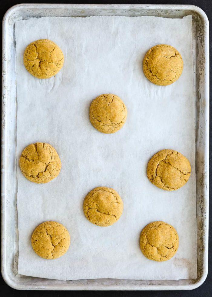 baked Eggless Pumpkin Snickerdoodles in a cookie sheet
