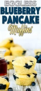 Fluffy Eggless Blueberry Pancake Muffins with descriptive text