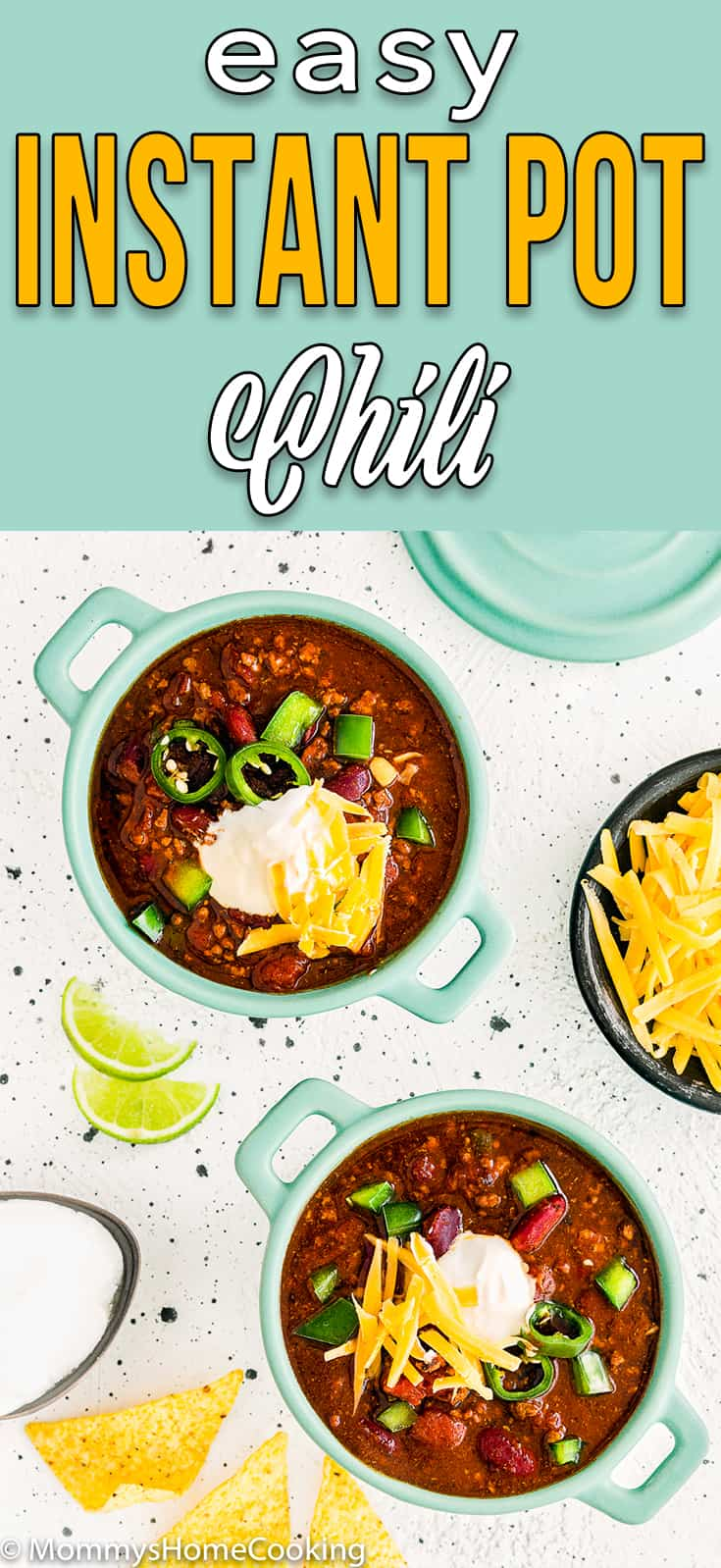 two bowls of easy instant pot chili topped with sliced jalapeño, sour cream and cheese with descriptive text