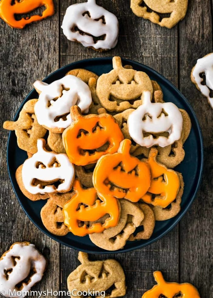 Eggless Halloween Cookies in a plate with glaze