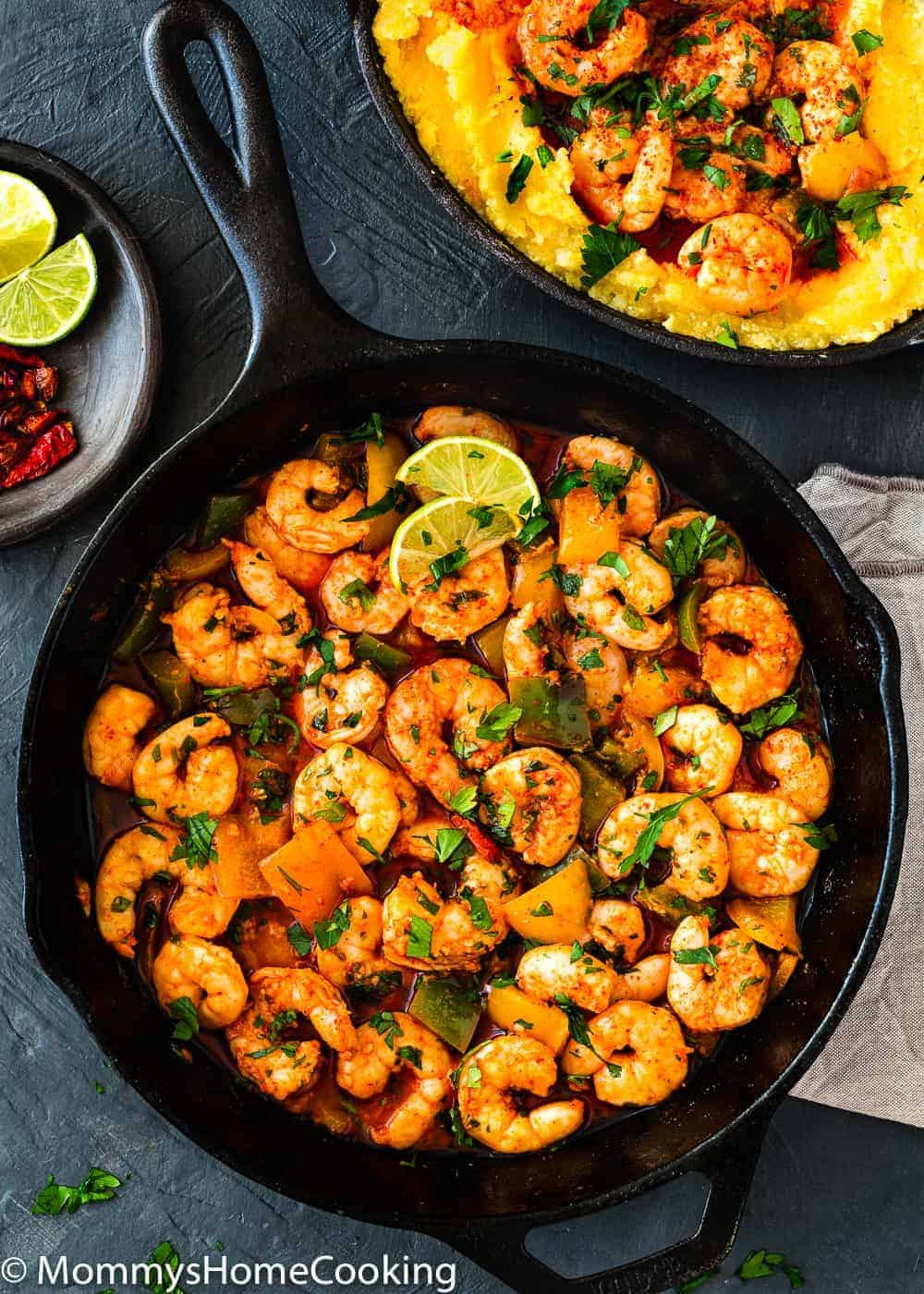 Easy Peri Peri Shrimp in a cast iron skillet