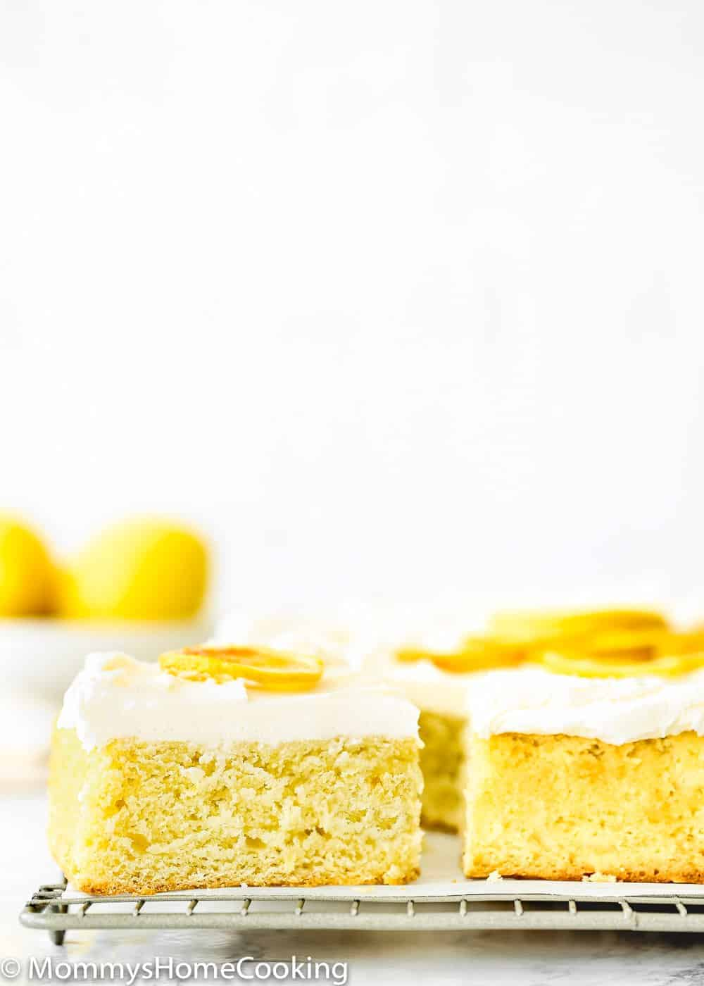 Eggless Lemon Cake Slide with lemon buttercream