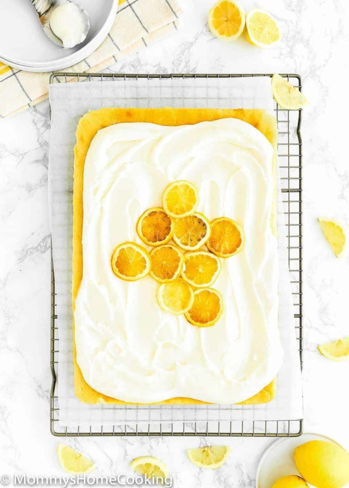 Eggless Lemon Cake with candied lemon and buttercream