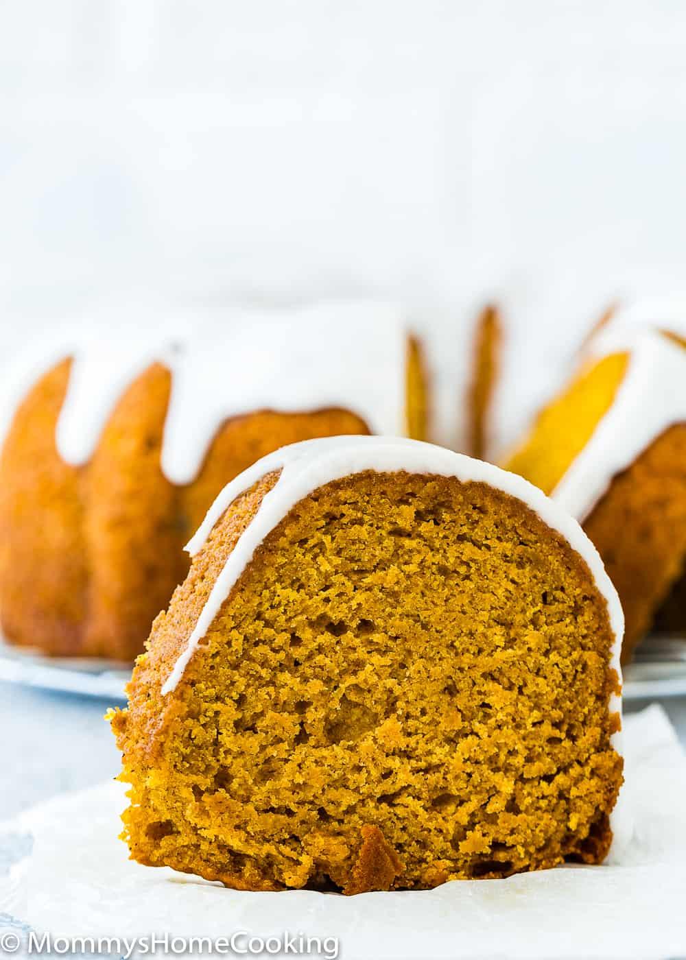 Eggless Pumpkin Cake Slice