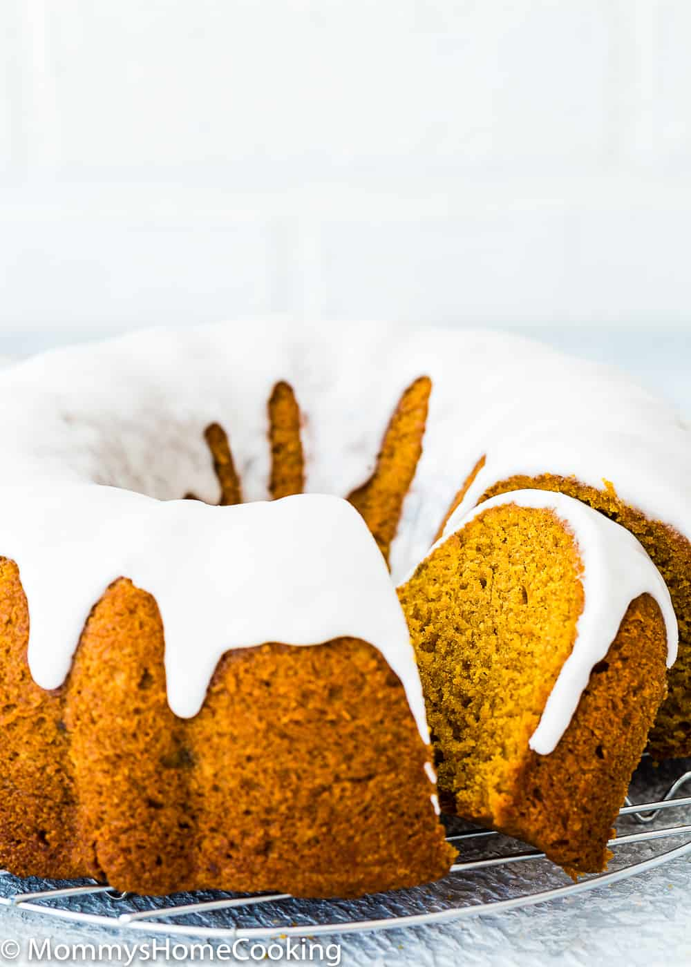 Sugar Glazed Eggless Pumpkin Cake sliced