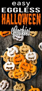 Eggless Halloween Cookies in a plate with descriptive text