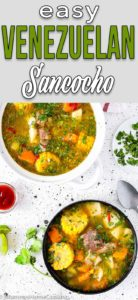 Venezuelan Sancocho in a bowl over a table with hot sauce and lime wedges with descriptive text