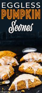 Eggless Pumpkin Scones with glaze