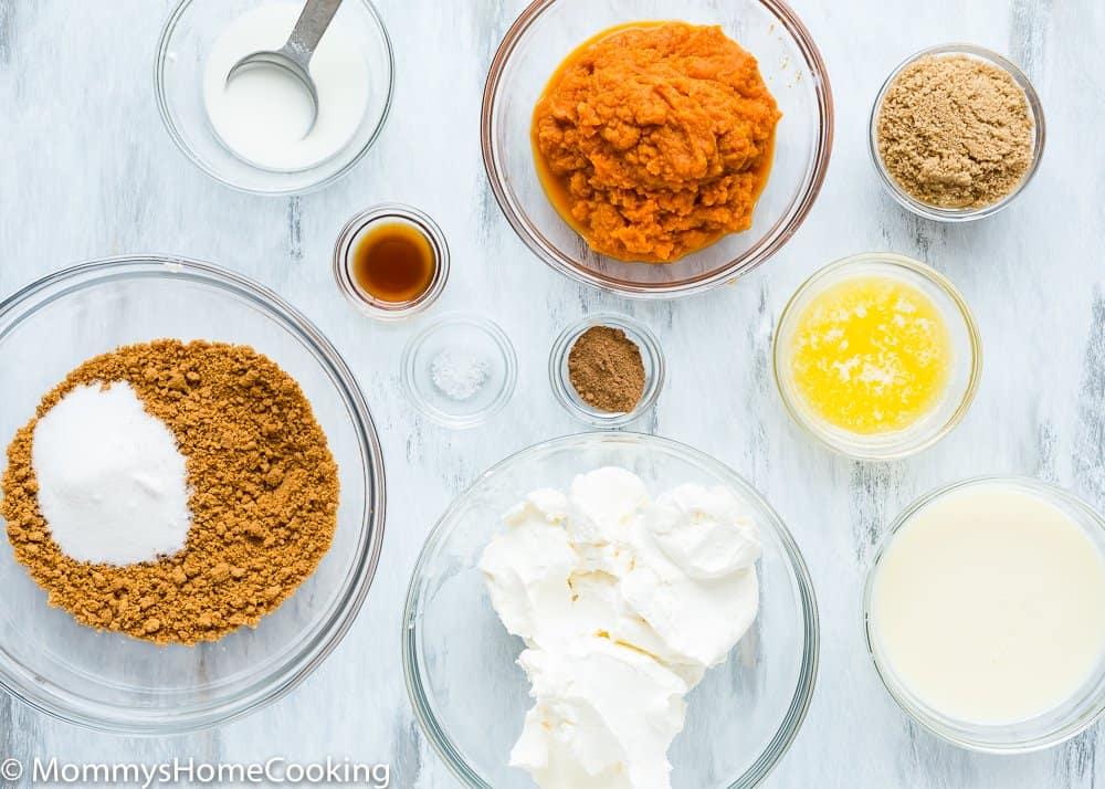 Eggless Pumpkin Cheesecake ingredients