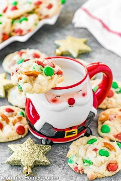 Easy Eggless Christmas Cookies with a cup of milk