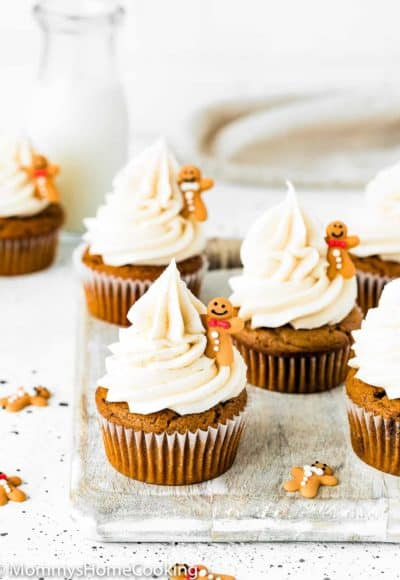 Easy Eggless Gingerbread Cupcakes with cream cheese frosting