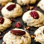 Eggless Butter Pecan Cookies over a slate surface