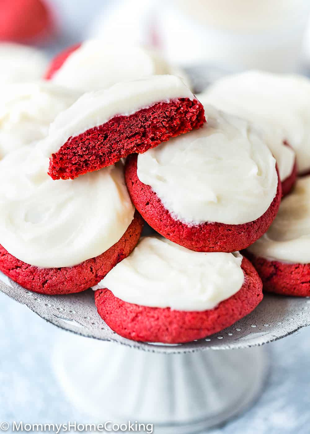 eggless red velvet cookies with cream cheese frosting